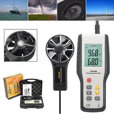 LCD Digital CFM/CMM Wind-Speed Airflow Anemometer Gauge Thermometer Meter Tester