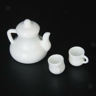 1/12 Doll House Miniature Coffee Tea Service Teapot Kettle with 2 Cups White