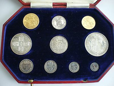 1911 KING GEORGE V GOLD & SILVER PROOF 10 COIN SET - Sovereign to Maundy Penny
