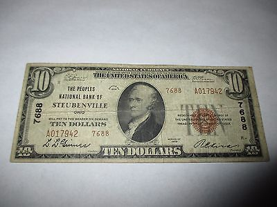 $10 1929 Steubenville Ohio OH National Currency Bank Note Bill! Ch. #7688 RARE
