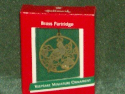 Hallmark 1989 Brass Partridge  - Miniature Ornament - NEW