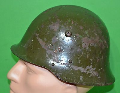 Original WWII Bulgarian М36 (Model 1936) helmet with liner, chinstraps