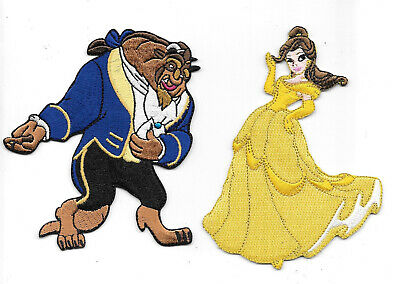 Walt Disney Beauty and the Beast, Beast and Belle Figures Embroidered Patch Set