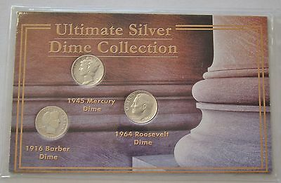 Ultimate Silver Dime Collection 1916 Barber, 1945 Mercury, 1964 Roosevelt