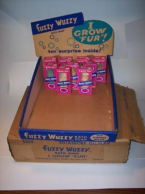 "RARE Vintage Antique 1960's ""Fuzzy Wuzzy Bear Bath Soap"" Store Display & 5 Soaps"