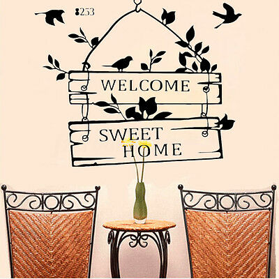 Removable welcome sweet home quote wall sticker modern for Room decor 6d