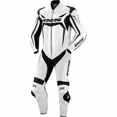 IXS Wakefield 1-Piece Leather Motorcycle Suit White/Black Men's
