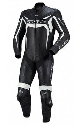 IXS Wakefield 1-Piece Leather Motorcycle Suit Black/White Men's