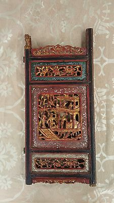 Vintage Chinese Art Carved Wood Wall Panel - $125 Each