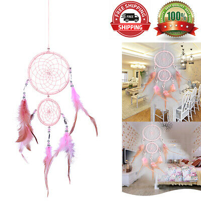 Home Car Dream Catcher Circular With Pink feather Wall Hanging Decoration Gift