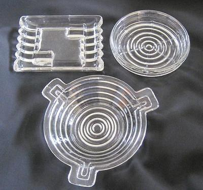 Anchor Hocking Manhattan Glass Two Ashtrays and Coaster
