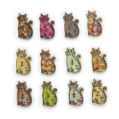 50pcs Cat Wood Buttons Sewing Scrapbooking Clothing Gift Home Decor 30x19mm