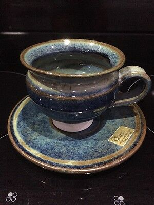 Louis Mulcahy Dingle Ireland Hand Made Blue & Grey Goblet Irish Art Pottery