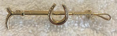 Fox Hunt Hunting Crop and Horseshoe Costume Gold Pin Stockpin