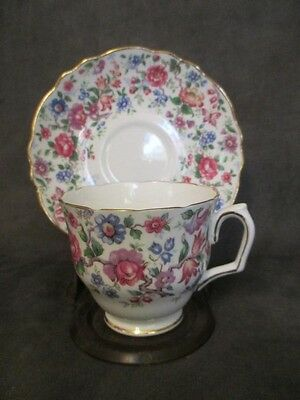J3 Crown Staffordshire Bone China Floral Butterfly Footed Cup & Saucer