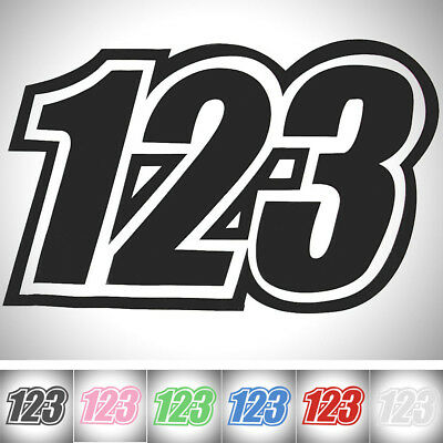 """1pc Race Numbers Vinyl Decals Sticker Graphics Motorcycle Car 5.9""""x4.9"""" 123"""