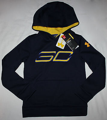 NEW Under Armour Stephen Curry SC Hoodie Boys Youth size Extra Small Navy Blue