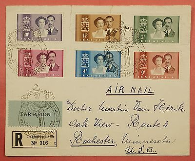 1953 Luxembourg #286-291 Wedding Set On Registered Cover Special Cancel