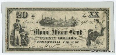 MOUNT ALLISON BANK Commercial College Scrip Sackville NB  $20. Inv #2910