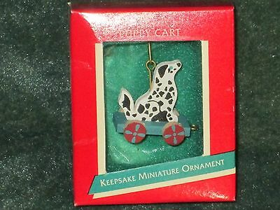 Hallmark 1989 Puppy Cart - Miniature Ornament - NEW