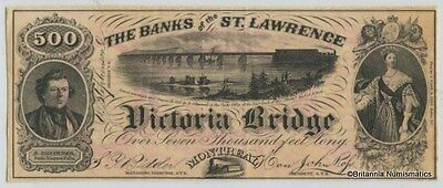 BANKS OF THE ST. LAWRENCE Victoria Bridge $500. Advertising Note Inv #2914