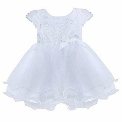 FEESHOW Infant Baby Girls' Organza Layered Baptism Dress White 9-12 Months New
