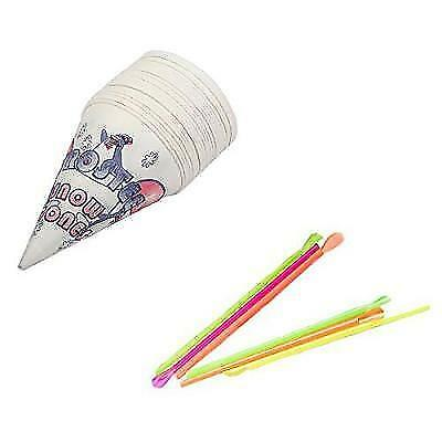 Perfect Stix Snow Cone Spoon Straws and Cups-100ct Snow Cone Spoons with New
