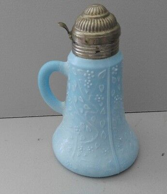 Antique VNTG Blue Milk Glass Syrup Pitcher Flower/Leaf Pattern Delphite