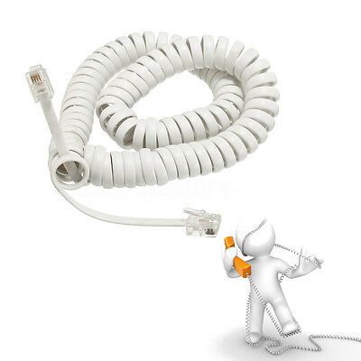 New 3M Telephone Handset Phone Extension Cord Curly Coil Line Cable Wire White
