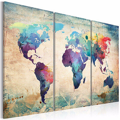 3 Panel Colourful Art World Map Canvas Painting Print Unframe Wall Display Decor