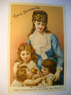 AYER'S SARSAPARILLA Victorian medicinal REMEDY TRADE CARD CHROMOLITHO CORRY PA
