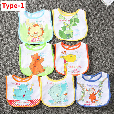 7Pcs/Set Baby Boy Girl Kids Bibs Waterproof Feeding Saliva Towel Bib Burp Apron