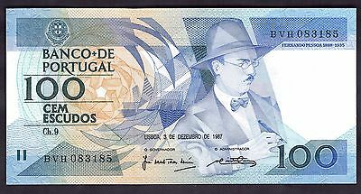 Portugal. 100 Escudos, BVH 083185, 3-12-1987, Almost Uncirculated.