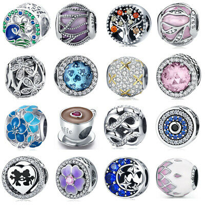New European 925 Silver CZ Charm Beads Fit sterling 925 Necklace Bracelets Chain