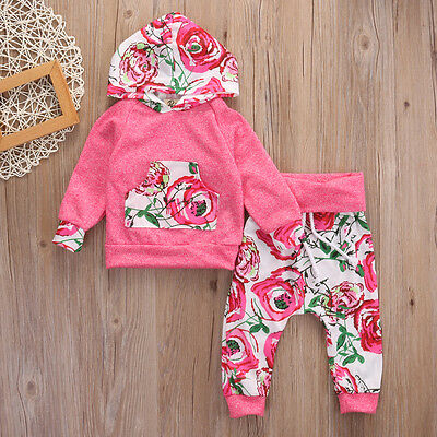 Newborn Baby Girl Clothes Hoodie Tops+Floral Pants Leggings 2Pcs Outfits UK