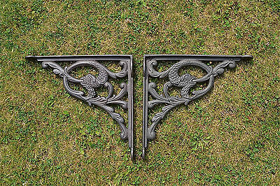 Pair large antique mythical serpent wall shelf brackets solid cast iron 10 inch