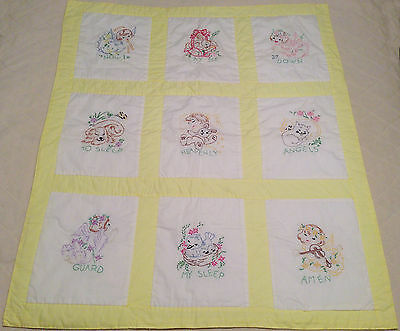 VINTAGE YELLOW BABY BLANKET QUILT Now I Lay Me Down To Sleep, Hand Embroidered