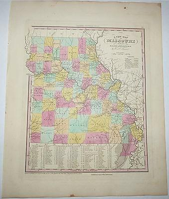 A New Map of Missouri - Henry Shenk Tanner - 1841