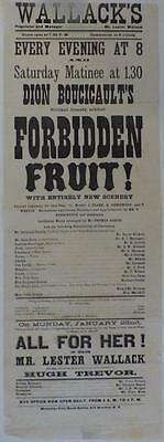 NY Theater Broadside, Dion Boucicault's Forbidden Fruit, Wallack's Theater, 1877
