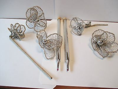 Vintage Silver Mercury Glass Candles & Silver Mesh Mercury Glass Flowers