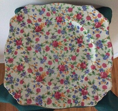 Royal Winton Old Cottage Chintz Cream Square Dinner Plate