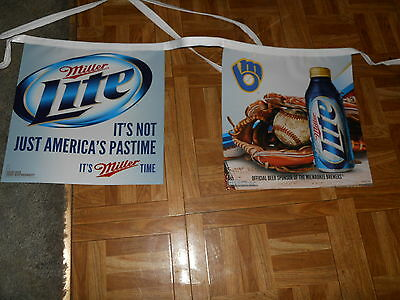 (L@@K) MILLER LITE BEER MILWAUKEE BREWERS 16oz PINT CAN STRING OF BANNER PENNANT
