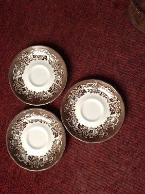 3 J G Meakin Royal Staffordshire Stratford Stage brown saucers