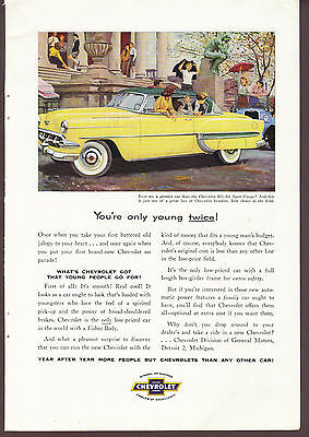 1954 Chevrolet Bel-Air Sport Coupe Original Print Ad You're only young Twice