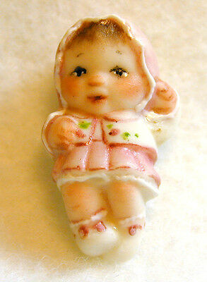 Handcrafted Porcelain Button Baby Girl  FREE US SHIPPING 1 inch