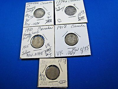 CANADA - LOT OF 5 - 10 CENT SILVER COINS - 1871 TO 1919    (skskcl3)