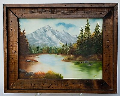 "Vintage Art Oil On Canvas Framed Landscape Painting Mountain Lake Signed ""toni"""