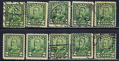 Canada #150(9) 1928 2 cent green King George V Scroll 10 Used