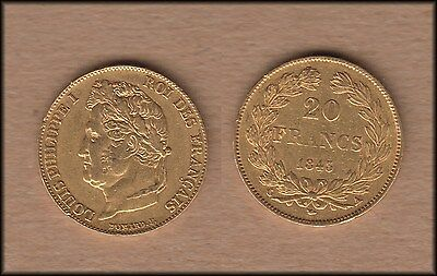 1843 France 20 Franc GOLD coin - Louis Philippe I - BINo