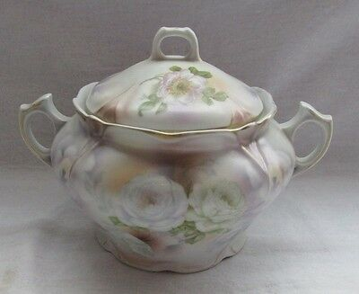Antique Bavaria Satin Finish Porcelain Cookie Biscuit Jar Wild White Roses